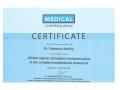 Сертификат от Medical consulting group о прохождении научно-практического курса на тему «Clinical aspects of implant treatment plans in the complex prosthodontic treatment».